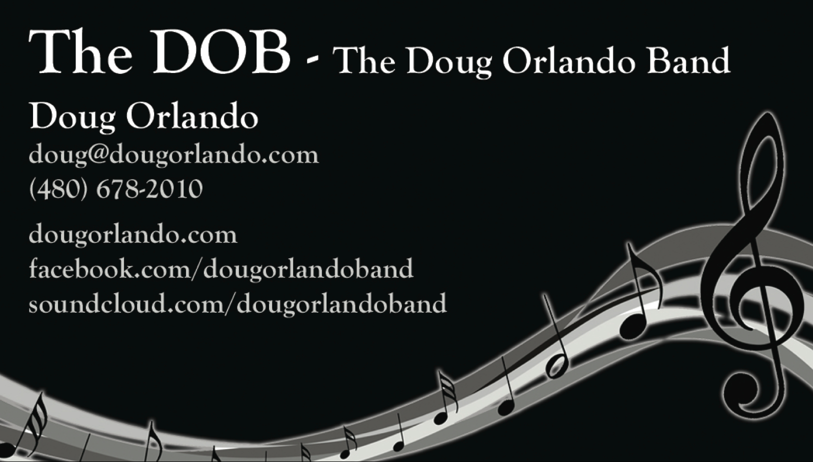 Doug Orlando Band DOB Card Front